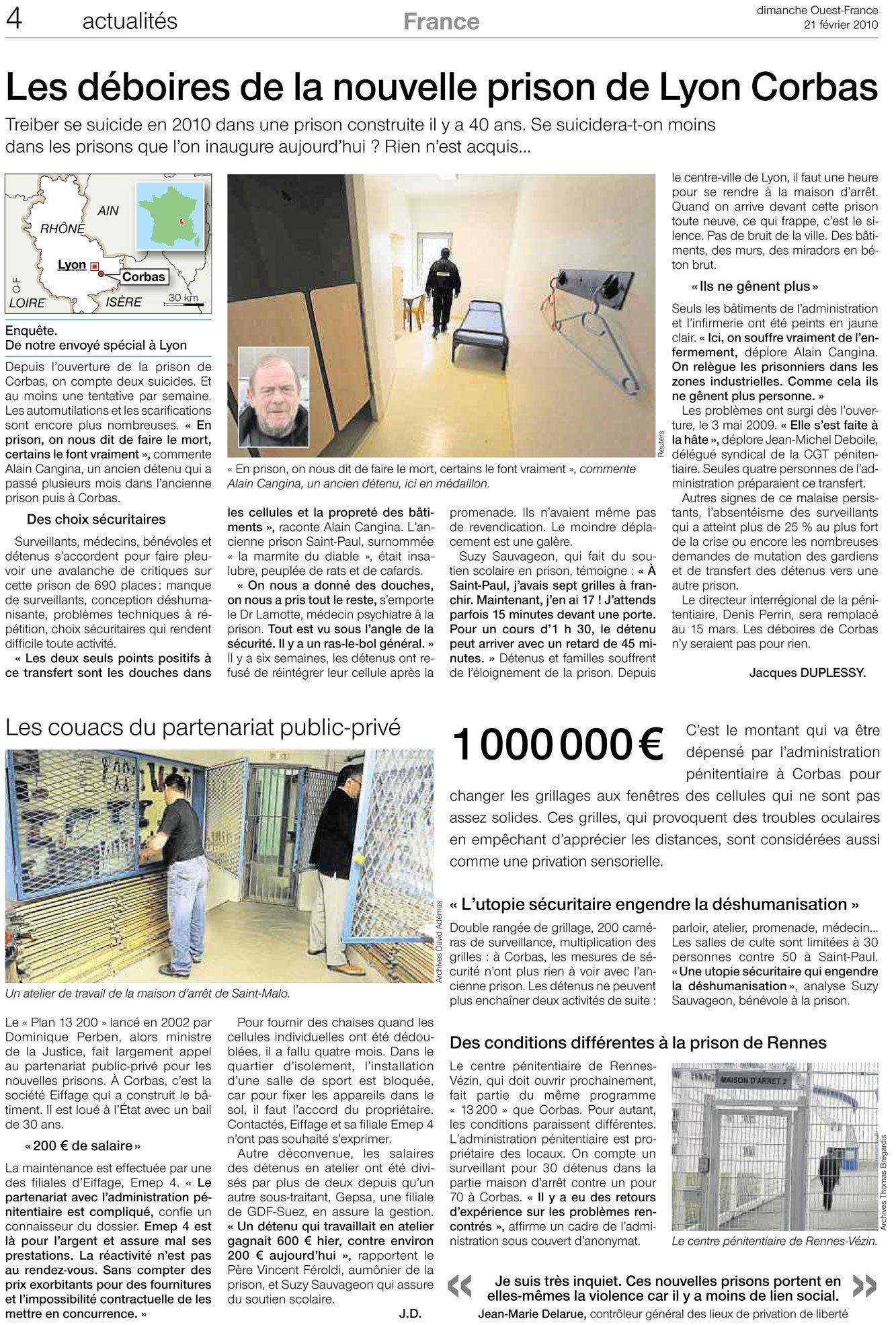 Les déboires de la nouvelle prison de Lyon Corbas